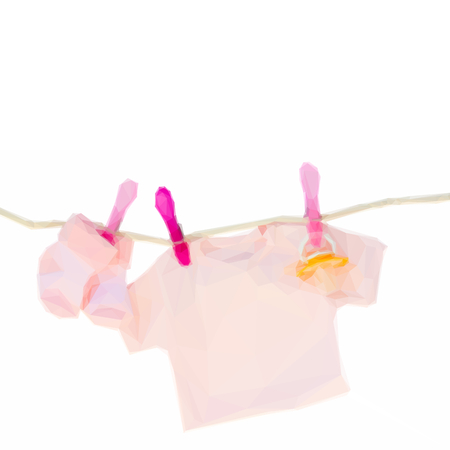 clothes hanging: Low poly illustration baby pink clothes hanging on rope on white background