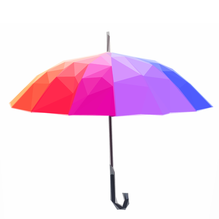 rainbow umbrella: Low poly illustration Open Rainbow umbrella with handle Illustration