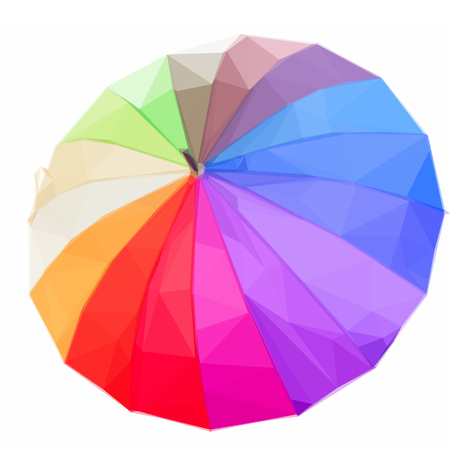 rainbow umbrella: Low poly illustration Single open Rainbow umbrella Illustration