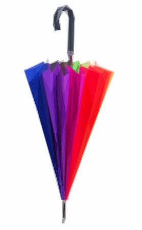 rainbow umbrella: Low poly illustration of Closed Rainbow umbrella