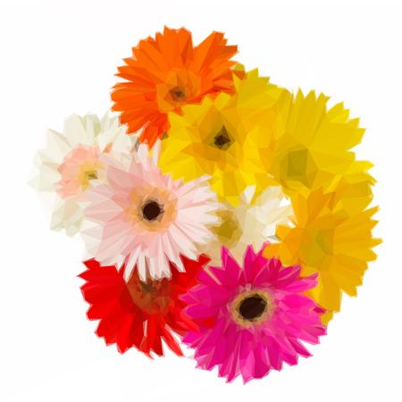 gerbera: Low poly illustration bouquet of gerbera flowers