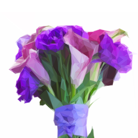 lilly: Low poly illustration Bouquet of calla lilly and eustoma flowers
