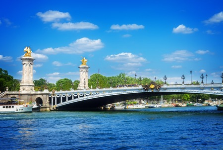 alexandre: Bridge of Alexandre III over river Seine at summer day, France, toned Stock Photo