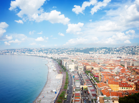 cote d'azur: cityscape of Nice with beach and sea, cote dAzur, France, retro toned