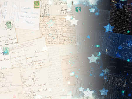 stary: old postcards with stary night background, dreaming and memories concept Stock Photo