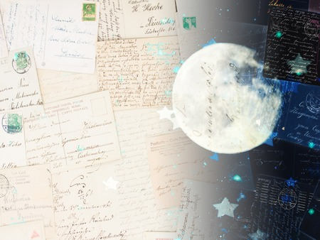 stary: old postcards with stary night with moon background, dreaming and memories concept