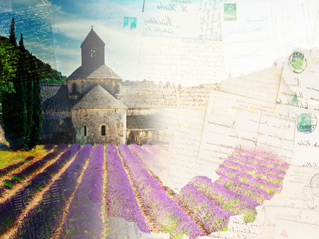 senanque: Vintage postcard of world famous Abbey Senanque and blooming Lavender field, France Stock Photo