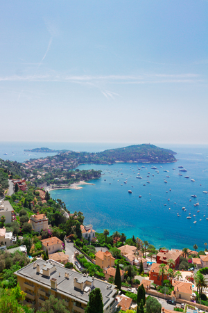 villefranche sur mer: landscape of riviera bay and turquiose water of cote dAzur at sunny summer day, France