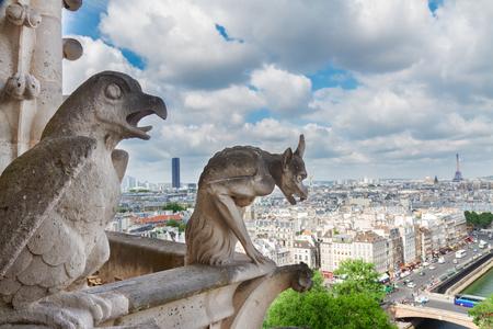 gargouille: Gargouille de Paris sur l'église Notre-Dame de la cathédrale et Paris Cityscape Tour Eiffel, France