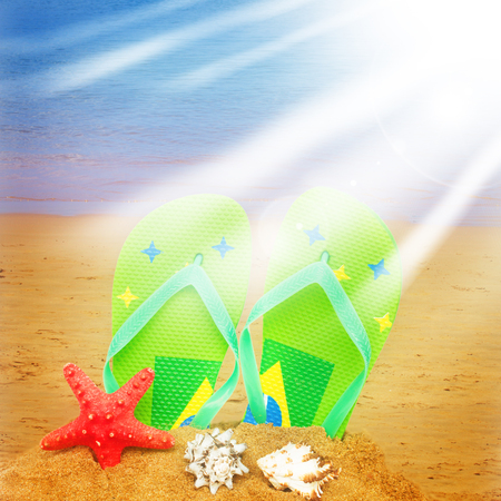 white sand beach: pair of green sandals and starfish in sand isolated on white background with sun rays