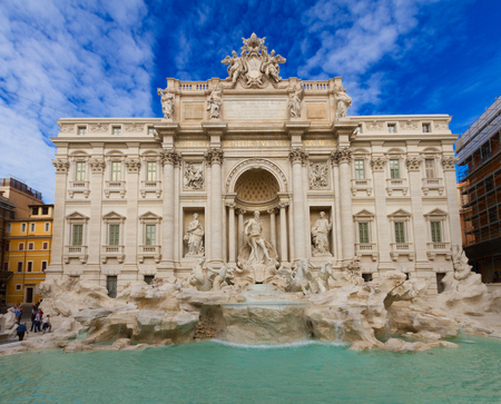 restored facade of famous Fountain di Trevi in Rome at day, Italy