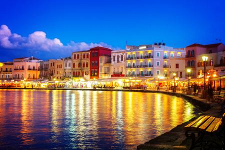 habour: illuminated venetian habour of Chania at night, Crete Greece, , toned Stock Photo