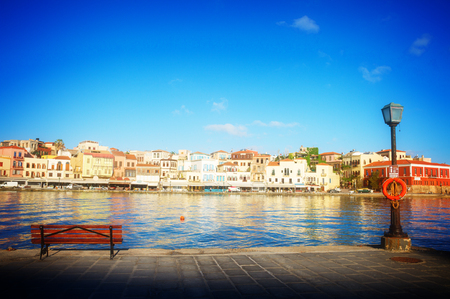 habour: venetian habour of Chania at sunny day, Crete Greece, toned