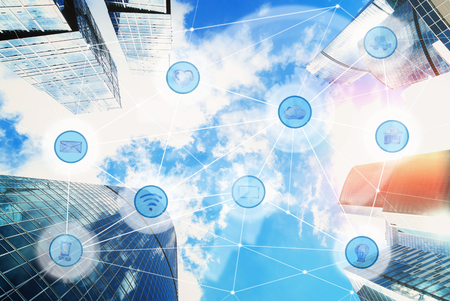 city and wireless communication network, IoT Internet of Things and ICT Information Communication Technology concept Archivio Fotografico