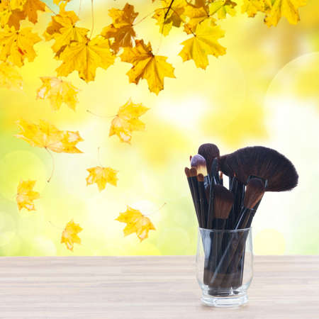 autumn colors: set of black brushes, lipsticks, maskara and eye shadows, fall park in background