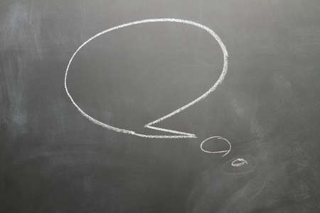 word bubble: word bubble draw with white chalk on blackboard Stock Photo