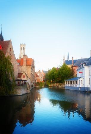 belfort: classical view of medieval Bruges with Belfort tower, Belgium, retro toned Stock Photo