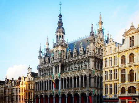 facade of Maison du Roi at day, Brussels, Belgium, toned