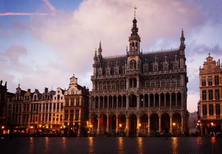 madieval Maison du Roi at night, Brussels, Belgium, toned