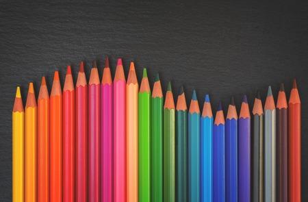 Back to school pencils rainbow border on black background, retro toned