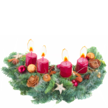 advent wreath: Low poly illustration Evergreen fir tree advent wreath with burning candles on white background