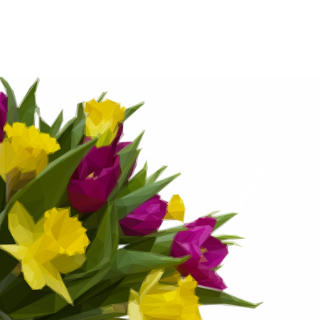 Low poly illustration bouquet of tulips and daffodils