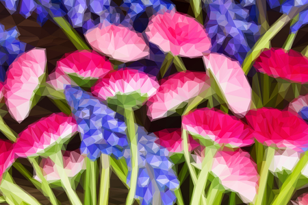 flowers close up: Low poly illustration Pile of Muscari and Daisy Flowers close up