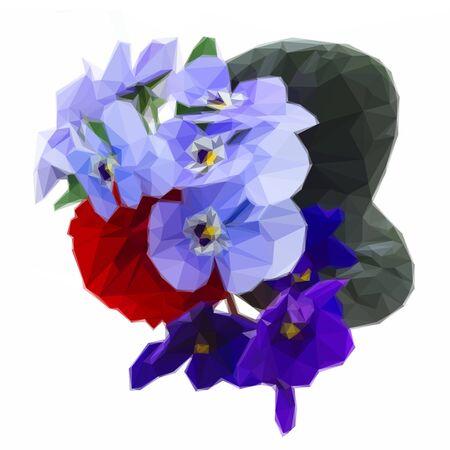Low poly illustration Posy de violettes fraîches, des pensées et des renoncules Vecteurs