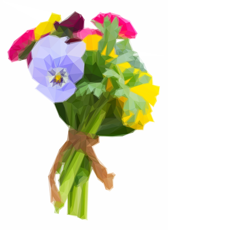 pansies: Low poly illustration Posy of fresh pansies, daisies and ranunculus