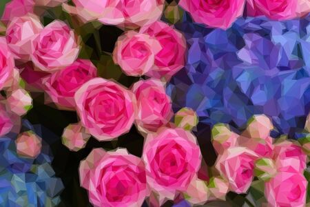 flowers close up: Low poly illustration bouquet of fresh pink roses and blue hortensia flowers close up