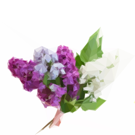 Low poly illustration Posy of fresh lilac flowers with green leaves Illustration