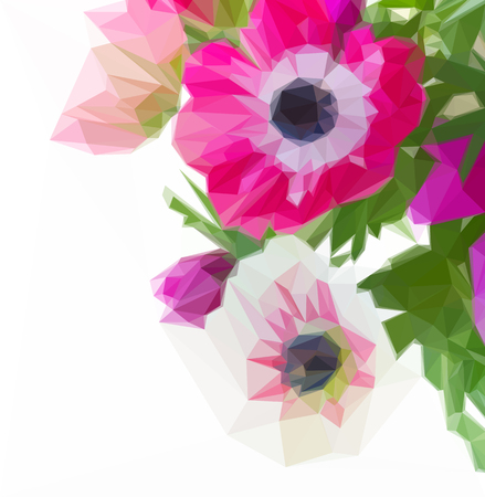 Low poly illustration bunch of pink anemone flowers close up