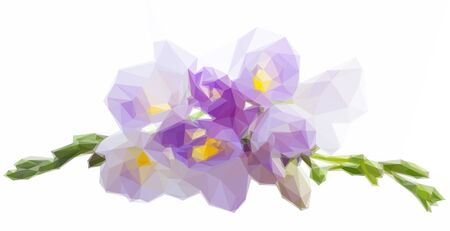 freesia: Low poly illustration of blue twig of freesia flowers