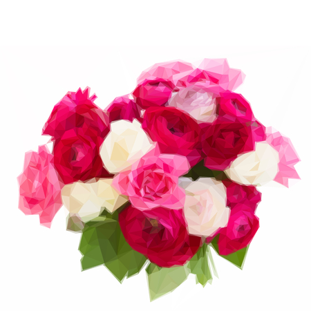 Low poly illustration bouquet of pink ranunculus and rose flowers close up