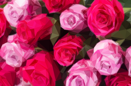 wedding table setting: Low poly illustration bunch of blooming fresh dark and light pink roses close up