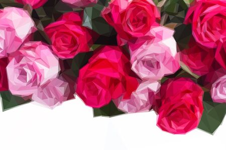 Low poly illustration bouquet of blooming dark and light pink rose flowers close up