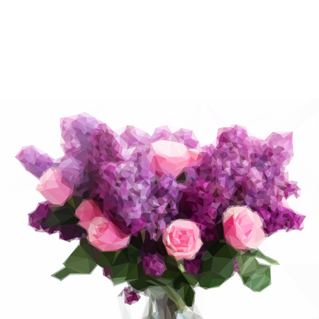 fragrant bouquet: Low poly illustration Bunch of purple Lilac flowers with pink roses Illustration