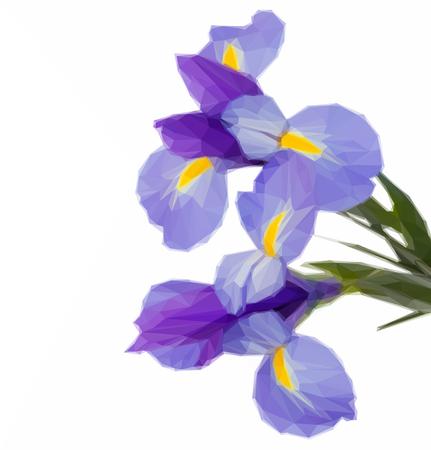 stark: Low poly illustration of blue irises flowers