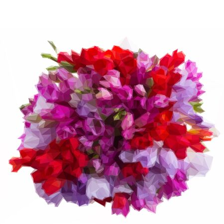 violet red: Low poly illustration bunch of blue, violet and red freesia flowers