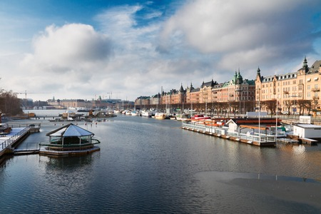 Scenic waterfront panorama of Stockholm city, Sweden
