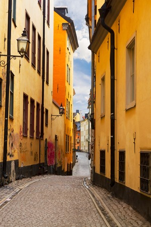 view of old town narrow winding street in Stockholm old town, Sweden