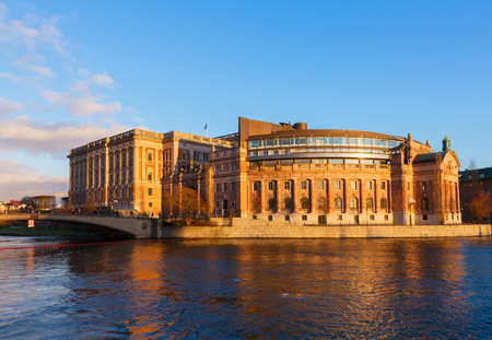 Swedish parliament over flowing water, Stockholm, Sweden