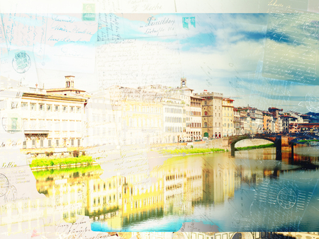 river arno: Vintage postcard of old town houses reflecting in river Arno waters at summer day, Florence, Italy