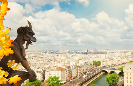 gargouille: Gargoyle of Paris on Notre Dame Cathedral church and Paris cityscape with Eiffel Tower at fall day, France Banque d'images