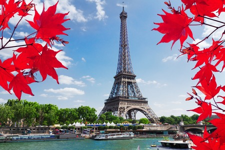 Paris riverbank with view of Eiffel Tower in fall day with red maple leaves, Paris France
