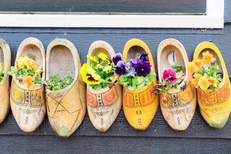 clog: Traditional dutch shoes clogs with fresh flowers close up Stock Photo