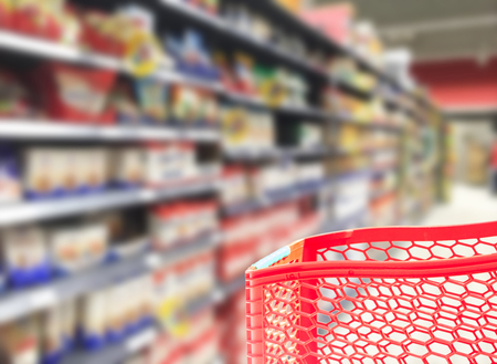 shelfs: abstract supermarket cart and shelfs blured background