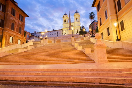 Spanish Steps illuminated at night, Rome, Italy