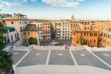 Spanish Steps and Rome cityscape in Italy Stock Photo