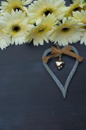 herbera: Cream gerbera flowers frame on dark wood with heart close up Stock Photo